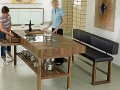 table top size 220 x 100 cm, 90 cm high,includes three plus two drawers.Available in all Schulte Design woods.